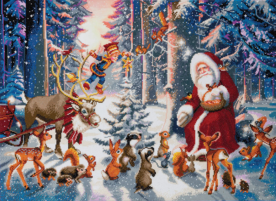 Crystal Art Extra Large Framed Kit Christmas in the Forest distributed by Outset Media