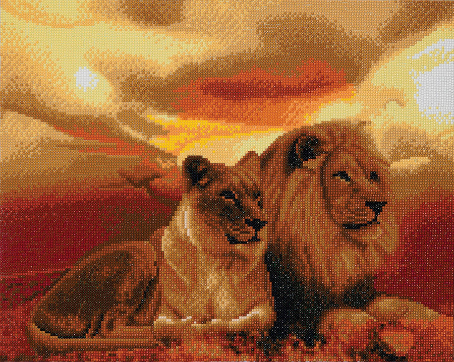 Crystal Art Large Framed Kit Lions of the Savannah distributed by Outset Media