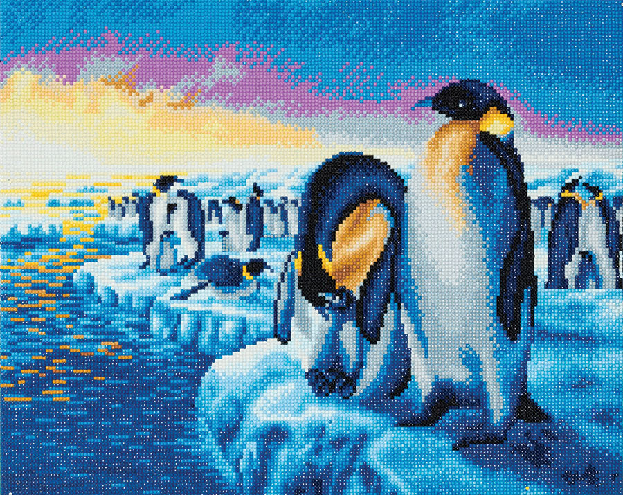 Crystal Art Large Framed Kit Penguins of the Arctic distributed by Outset Media
