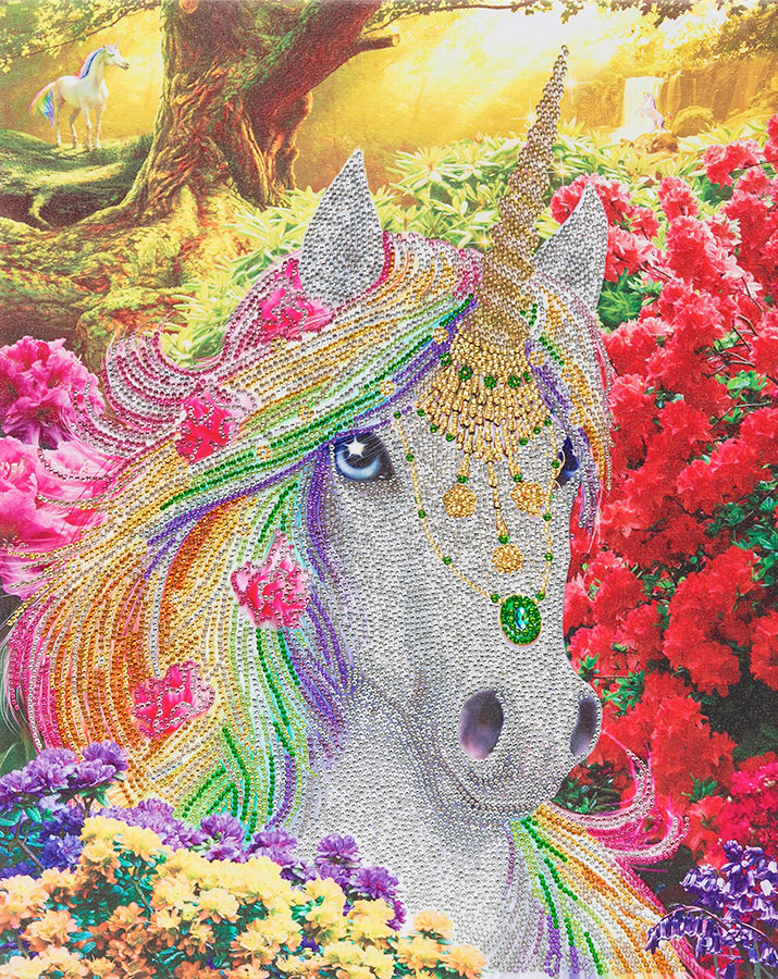 Crystal Art Large Framed Kit Unicorn Forest distributed by Outset Media
