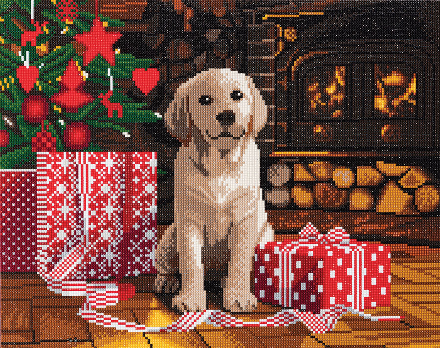 Crystal Art Large Framed Kit Labrador Puppy distributed by Outset Media