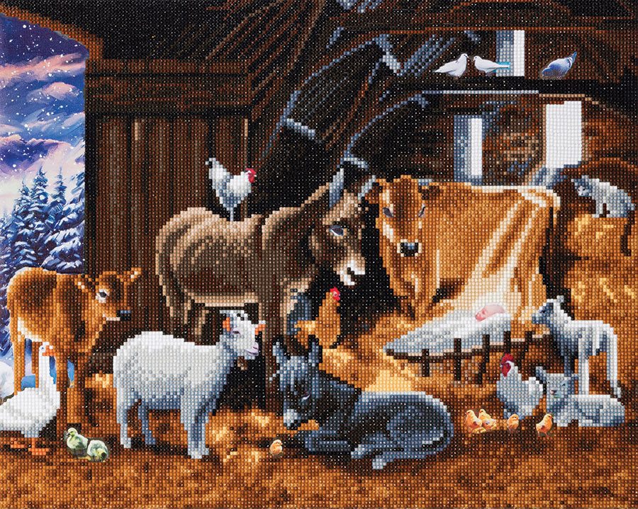 Crystal Art Large Framed Kit Nativity Farm distributed by Outset Media
