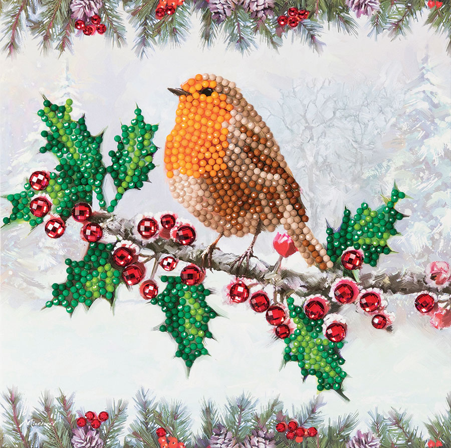 Crystal Art Card Kit Christmas Robin distributed by Outset Media