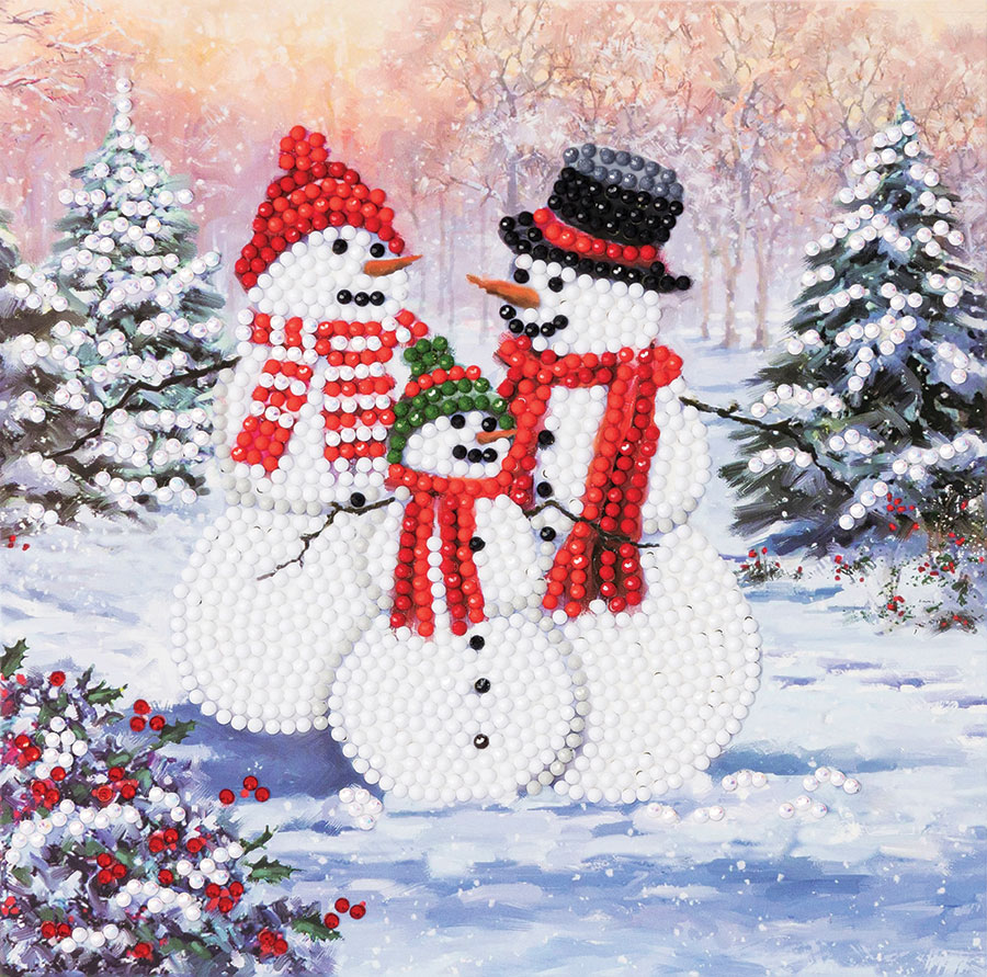 Crystal Art Card Kit Snowmen Family distributed by Outset Media