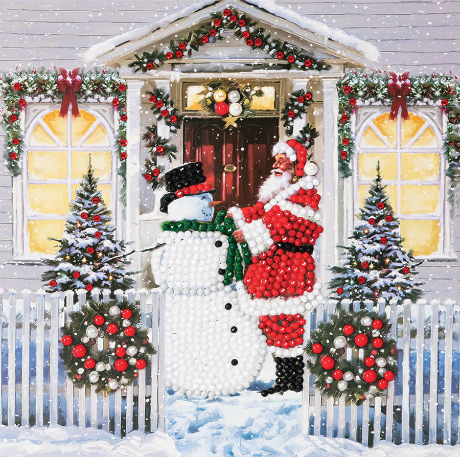 Crystal Art Card Kit Santa and Snowman (2019) distributed by Outset Media