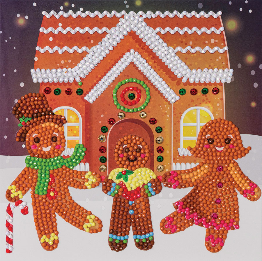 Crystal Art Card Kit Gingerbread Family distributed by Outset Media