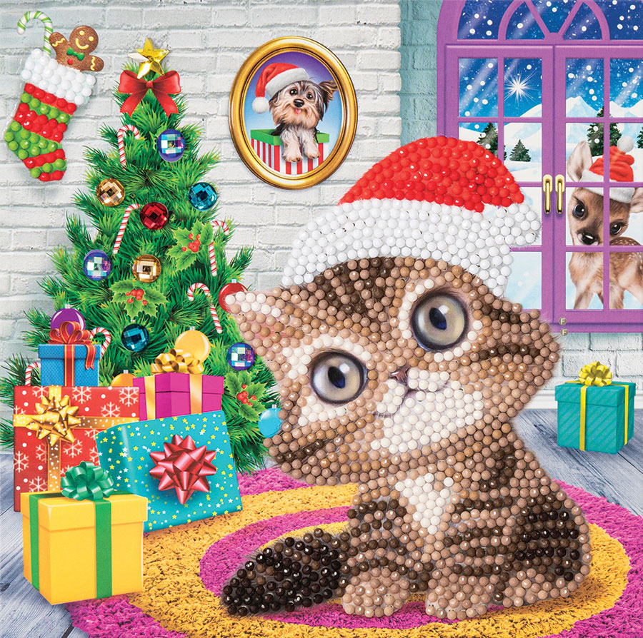 Crystal Art Card Kit Cozy Kitty distributed by Outset Media