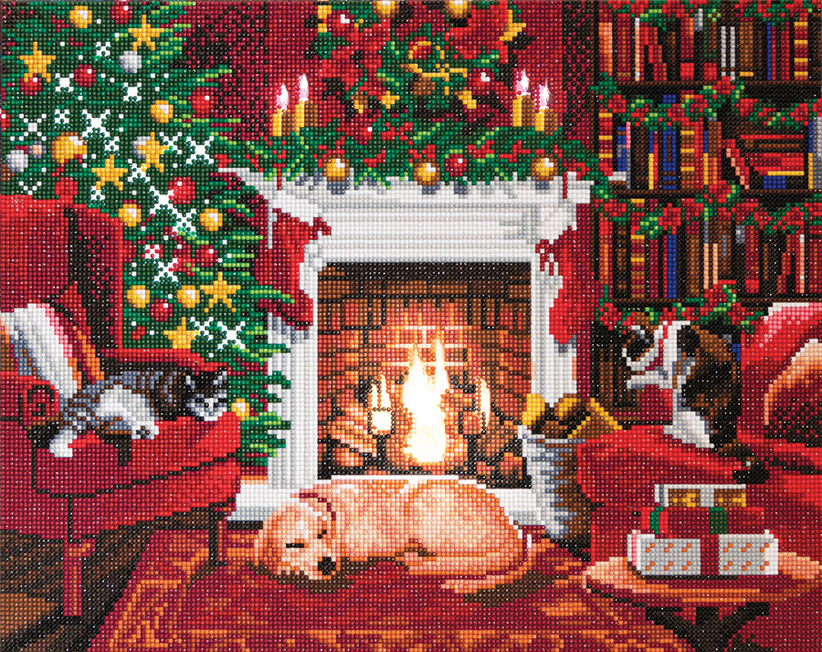 Crystal Art Large LED Framed Kit Pets by the Fireplace distributed by Outset Media