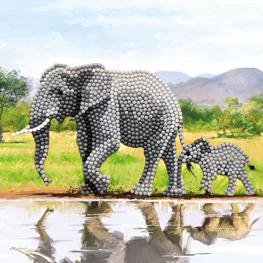 Crystal Art Card Kit Elephant distributed by Outset Media