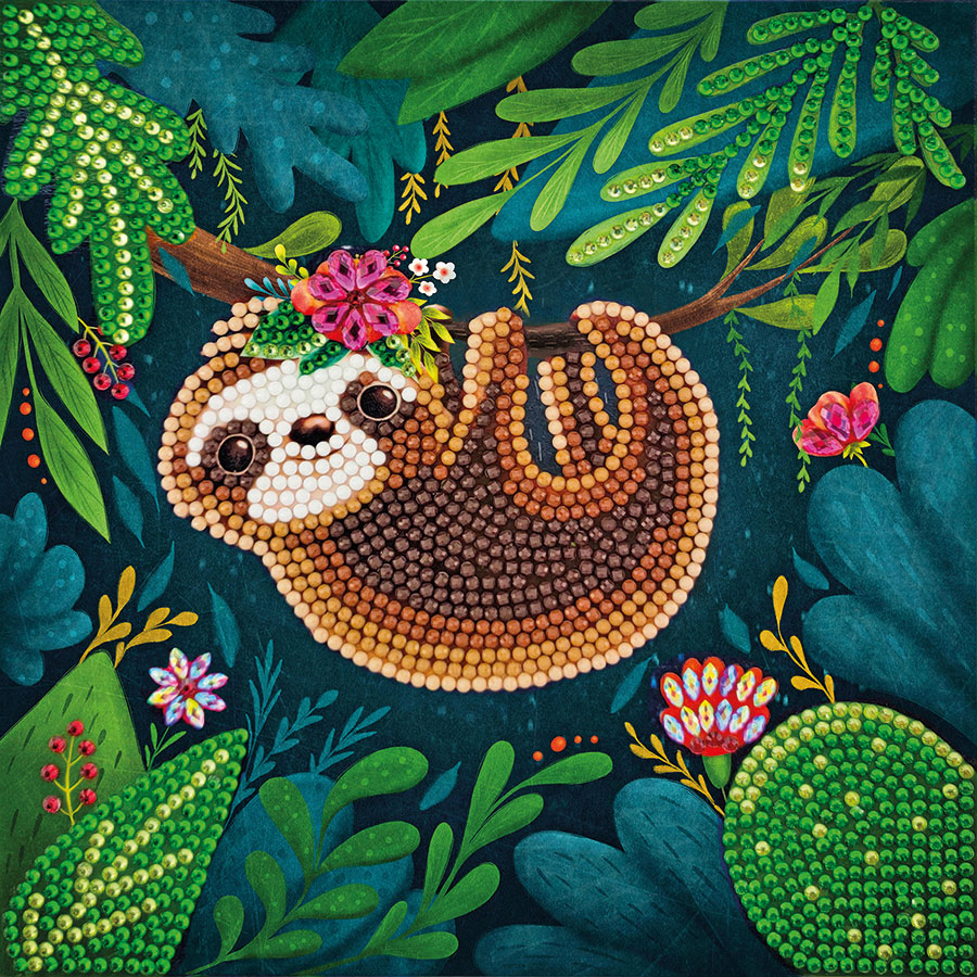 Crystal Art Card Kit Sloth distributed by Outset Media