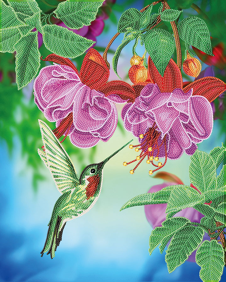 Crystal Art Large Framed Kit Hummingbird distributed by Outset Media