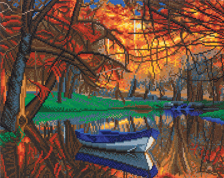 Crystal Art Large Framed Kit Autumn Forest Boat distributed by Outset Media