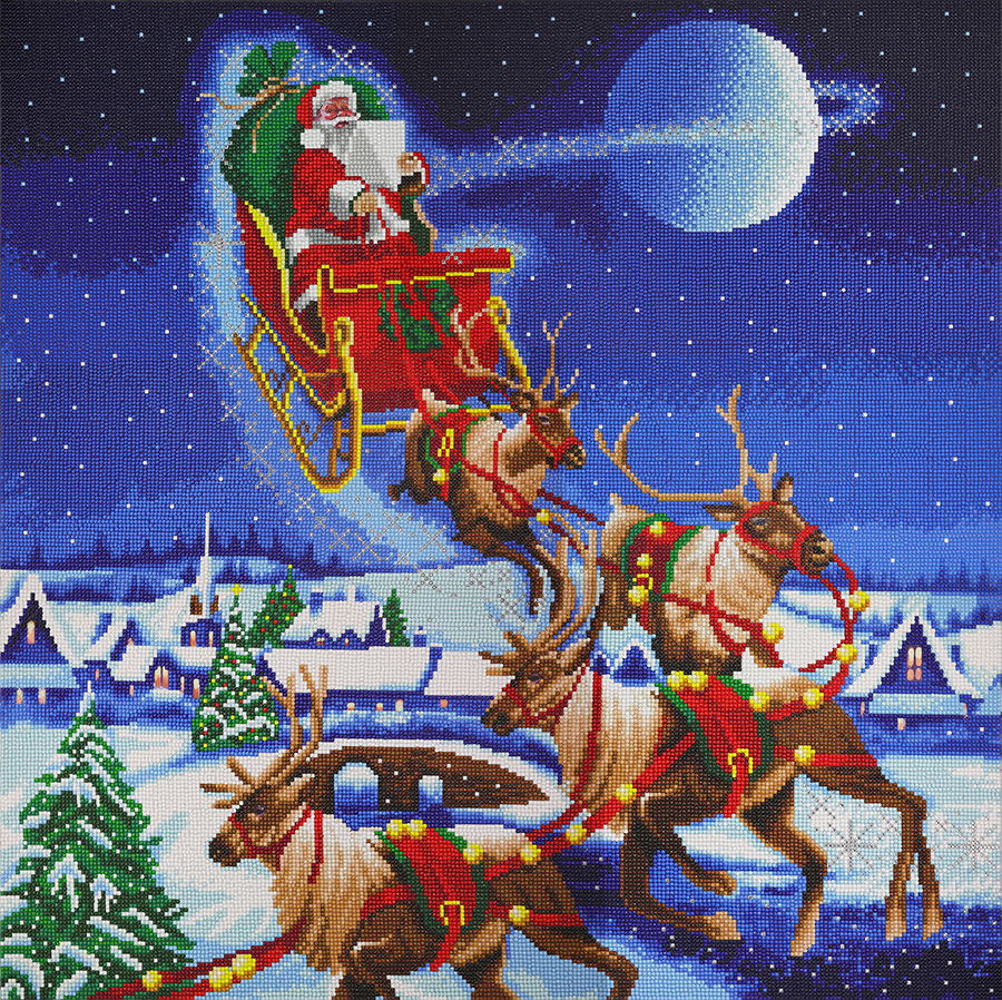 Crystal Art Extra Large Framed Kit Santa's Journey distributed by Outset Media