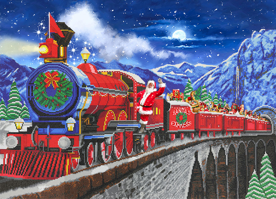 Crystal Art Extra Large Framed Kit Santa Express distributed by Outset Media