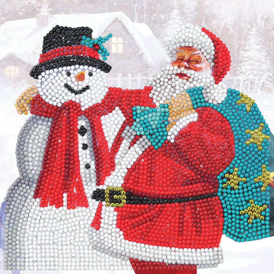 Crystal Art Card Kit Santa and Snowman (2020) distributed by Outset Media