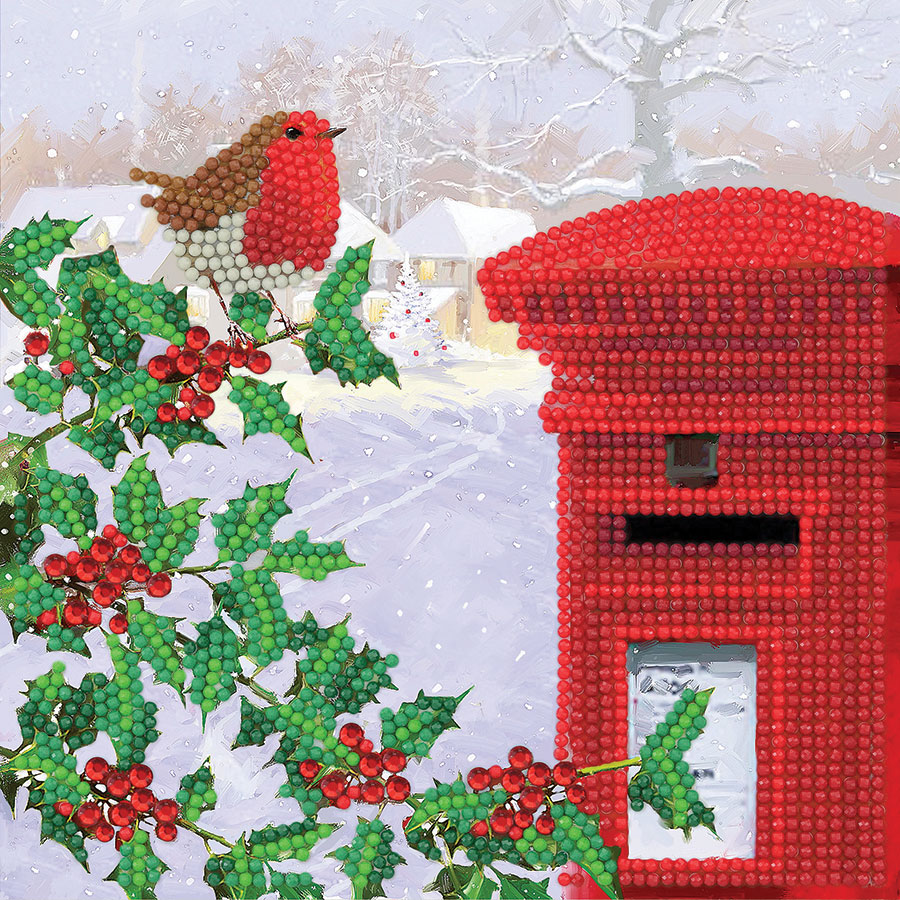 Crystal Art Card Kit Robin and Postbox distributed by Outset Media