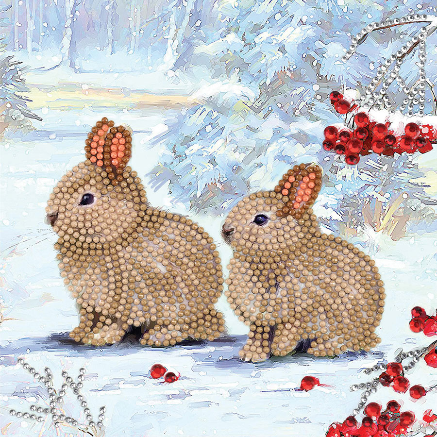 Crystal Art Card Kit Winter Bunnies distributed by Outset Media