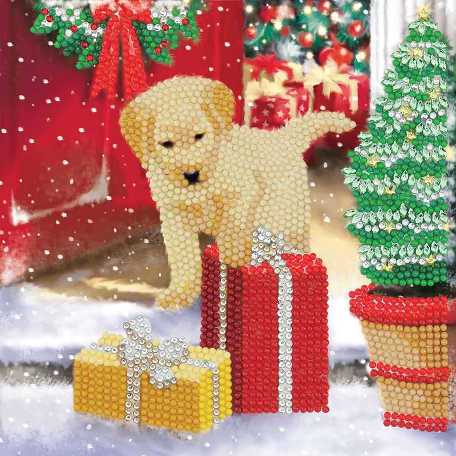 Crystal Art Card Kit Labrador Pup distributed by Outset Media