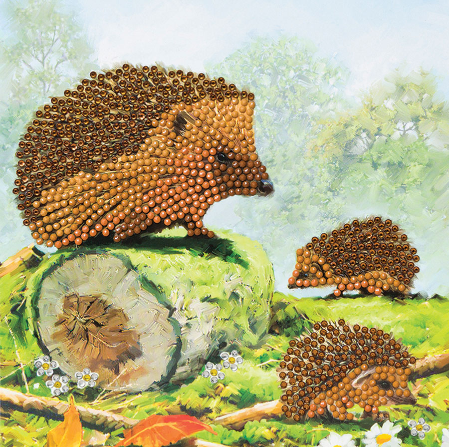 Crystal Art Card Kit - Happy Hedgehogs distributed by Outset Media
