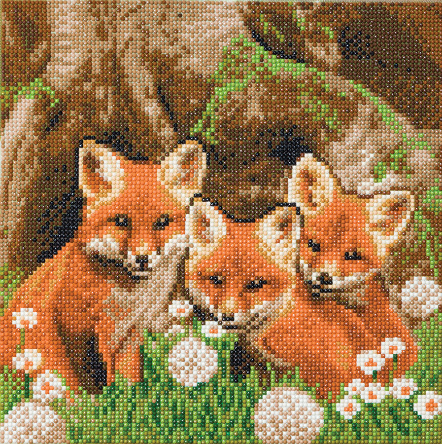 Crystal Art Medium Framed Kit Fox Cubs distributed by Outset Media