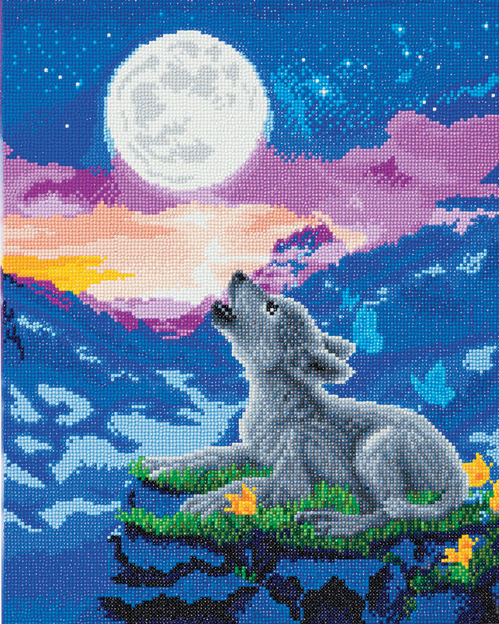 Crystal Art Large Framed Kit Howling Wolf Club distributed by Outset Media