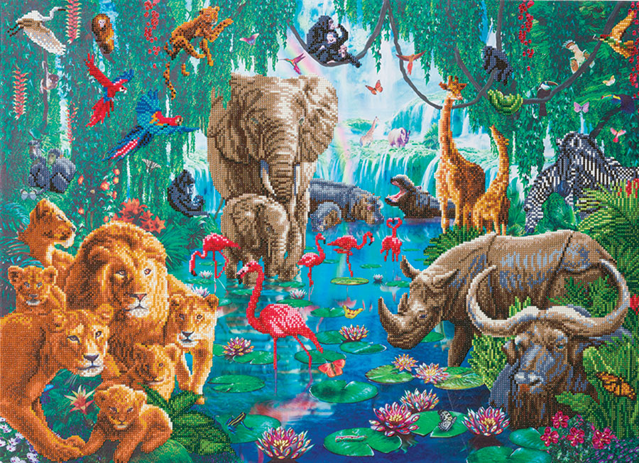 Crystal Art Extra Large Framed Kit Jungle Gathering (size A) distributed by Outset Media