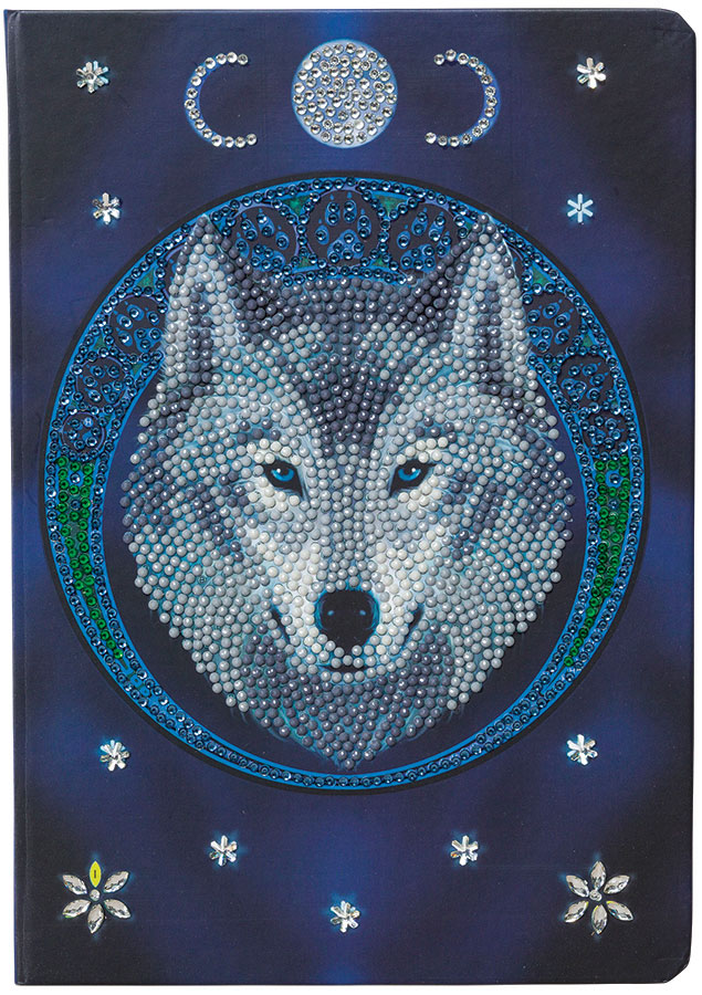 Crystal Art Notebook Kit Lunar Wolf distributed by Outset Media
