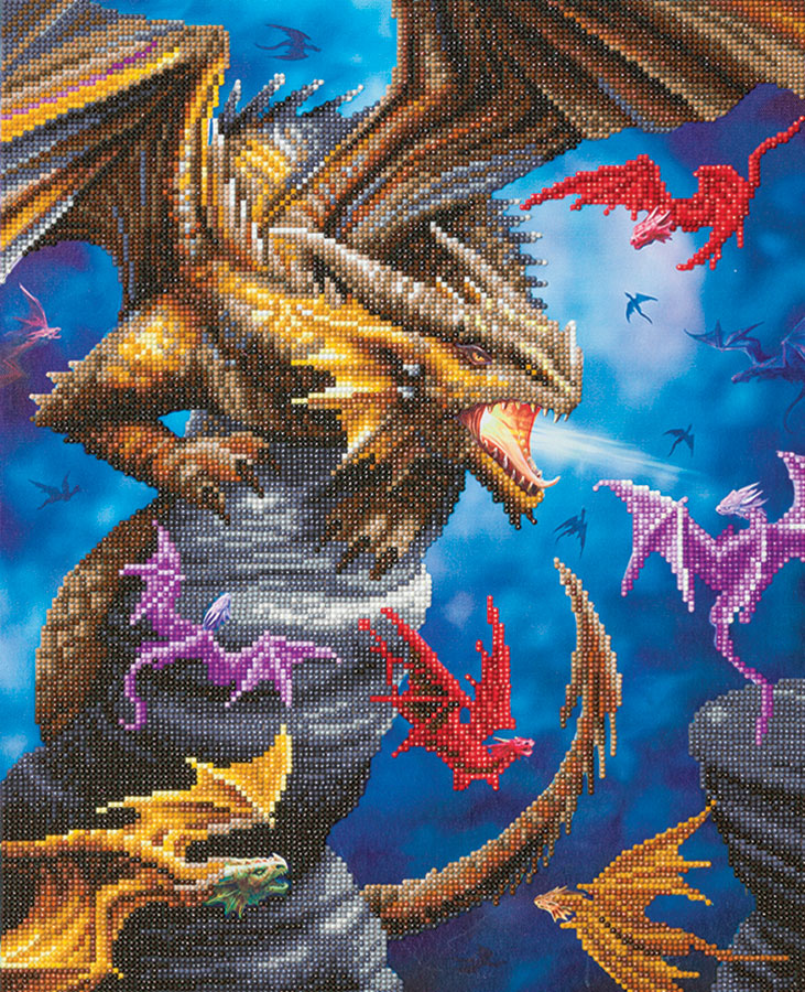 Crystal Art Large Framed Kit Dragon Clan distributed by Outset Media