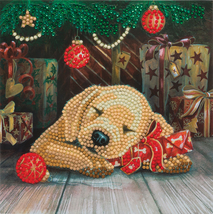 Crystal Art Card Kit - Sleepy Puppy distributed by Outset Media