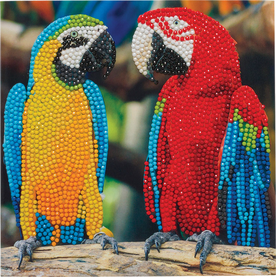Crystal Art Card Kit - Parrot Friends distributed by Outset Media