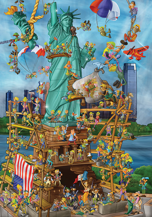 Statue of Liberty D-Toys cartoon 1000 piece puzzles