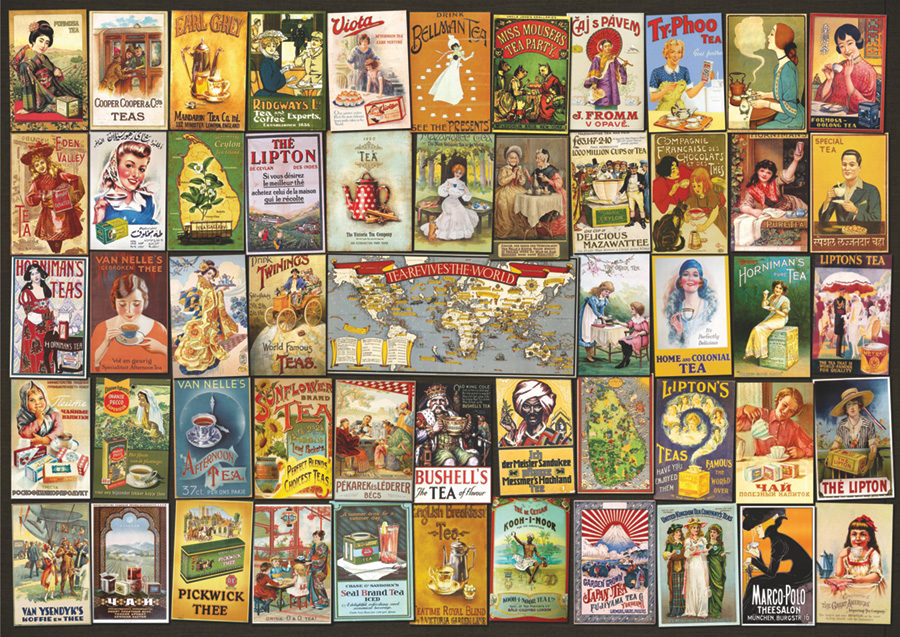 Tea Bag Collage Poster by D-Toys 1000 piece