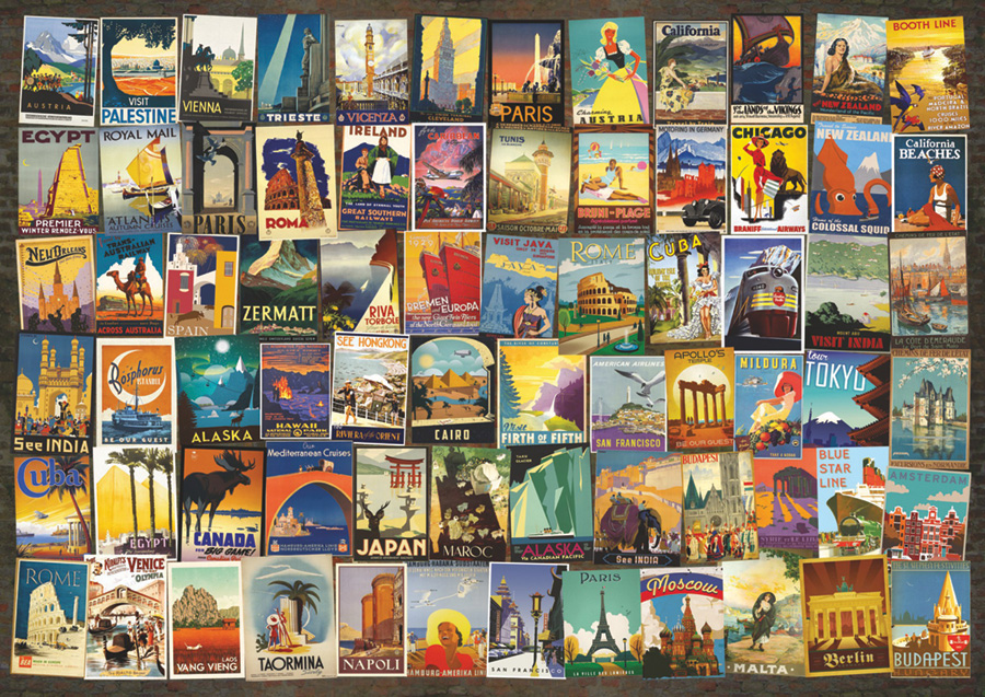 Travel Poster Collage D-Toys 1000 piece puzzle collage