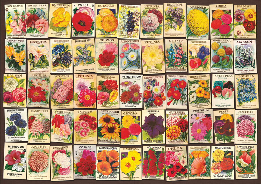 Seed Packet Collage D-Toys 1000 piece puzzle