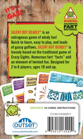 Silent But Deadly card game back of box by Outset Media