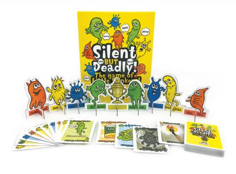 Silent But Deadly card game big box layout by Outset Media
