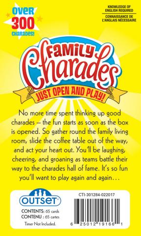 Family Charades back of package