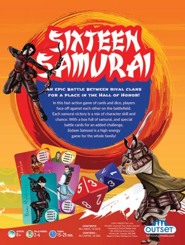 Sixteen Samurai back of box by Outset Media