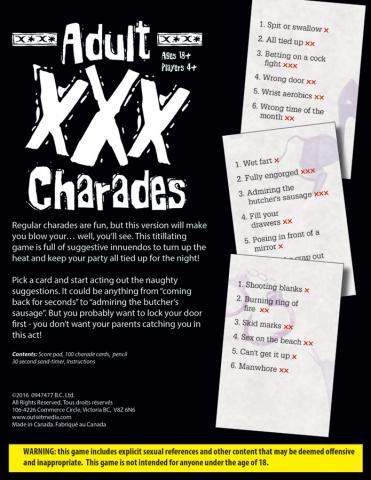 XXX Charades Box back by Outset