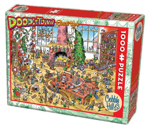 DoodleTown: Elves at Work 1000 piece Cobble Hill Puzle Co cartoon jigsaw