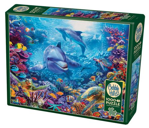 Dolphins at Play 1000 piece ocean puzzle by Cobble Hill