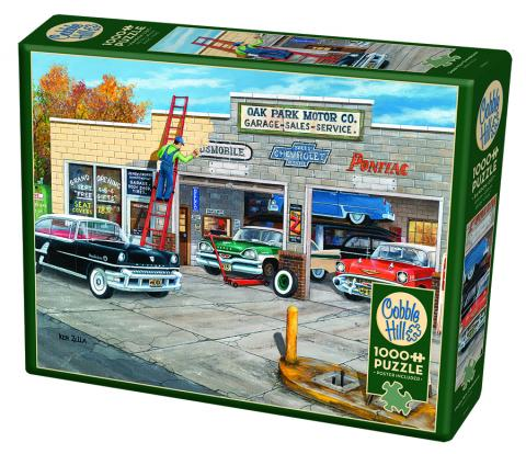 Under New Ownership jigsaw | 1000 pieces | Cobble Hill vintage cars garage puzzle
