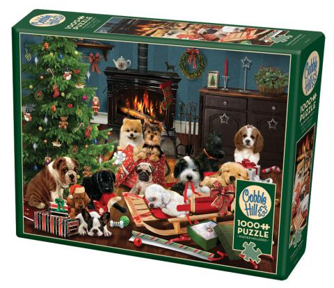 Christmas Puppies 1000 piece jigsaw puzzle by Cobble Hill