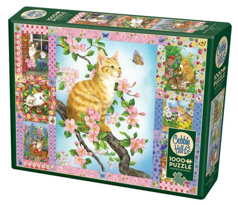 Blossoms and Kittens Quilt 1000 piece puzzle by Cobble Hill