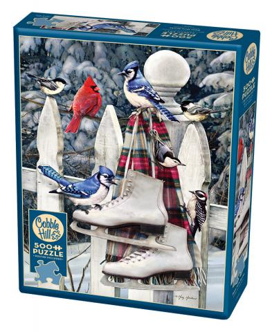 Birds With Skates jigsaw | 500 pieces | Cobble Hill birds winter puzzle