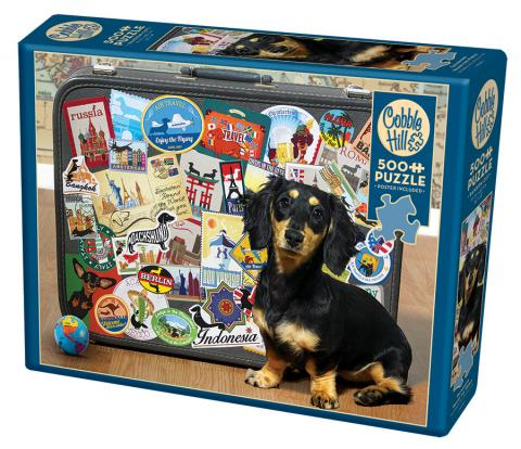 Dachshund 'Round the World- Cobble Hill Puzzle Co - 500 piece - dog jigsaw puzzle