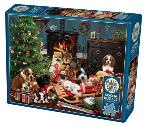 Christmas Puppies 500 piece jigsaw puzzle by Cobble Hill