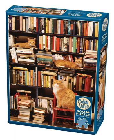 Gotham Bookstore Cats 500 piece jigsaw puzzle by Cobble Hill