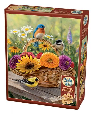 Summer Bouquet jigsaw | 275 pieces | Cobble Hill Easy Handling birds flowers puzzle