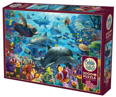 Coral Sea 2000 pc puzzle Cobble Hill Puzzle Co collage jigsaw